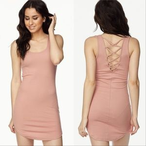 Dresses - PINK RIBBED MINI DRESS
